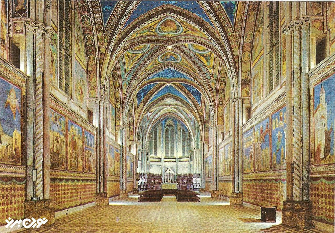 نمای داخلی سقف باسیلیکای سان فرانچسکو دوسیسی